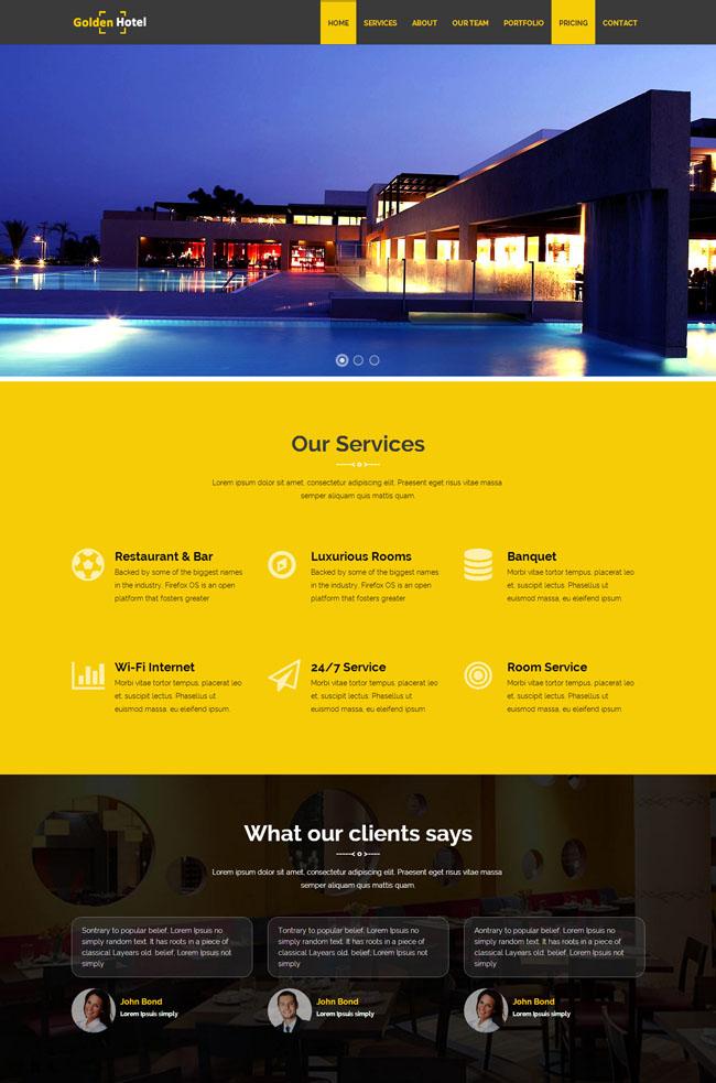 【免费下载】大气商务酒店网站模板是一款精美大气的酒店商务企业网页模板-好源码