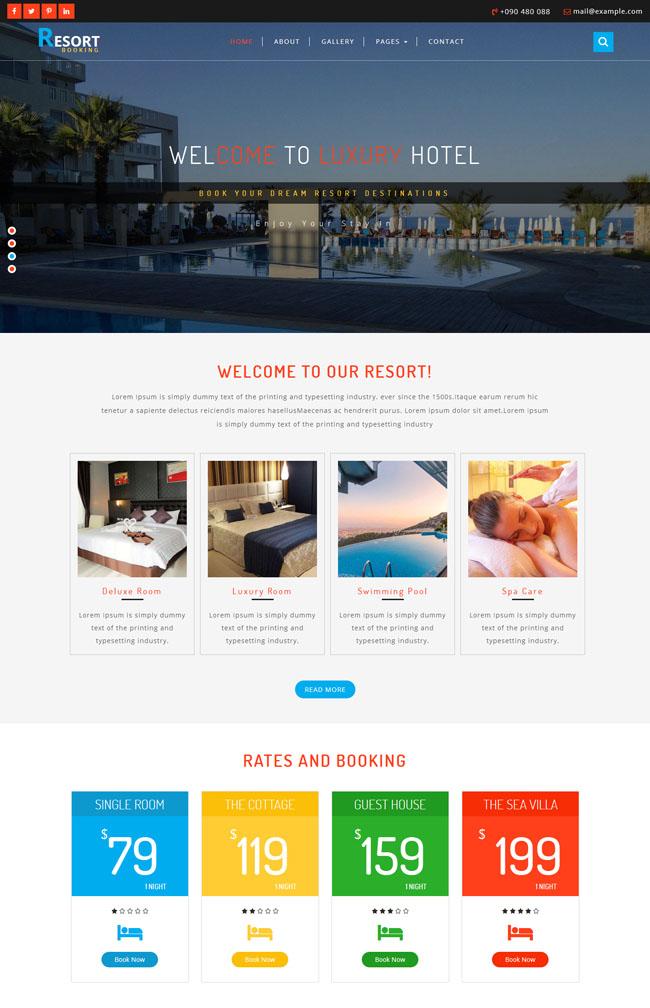 【免费下载】度假村酒店官方网站模板里面包含7个子页面,适合酒店住宿网站模板